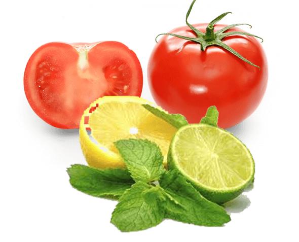 Nước ép cà chua và chanh là hỗn hợp tuyệt vời để trị mụn và dưỡng da