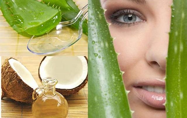 Sử dụng hỗn hợp nha đam và dầu dừa trị nhăn da mặt