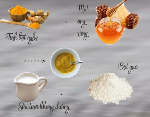 Tinh bột gạo kết hợp với nghệ là một cách chữa nám da bằng nghệ hiệu quả